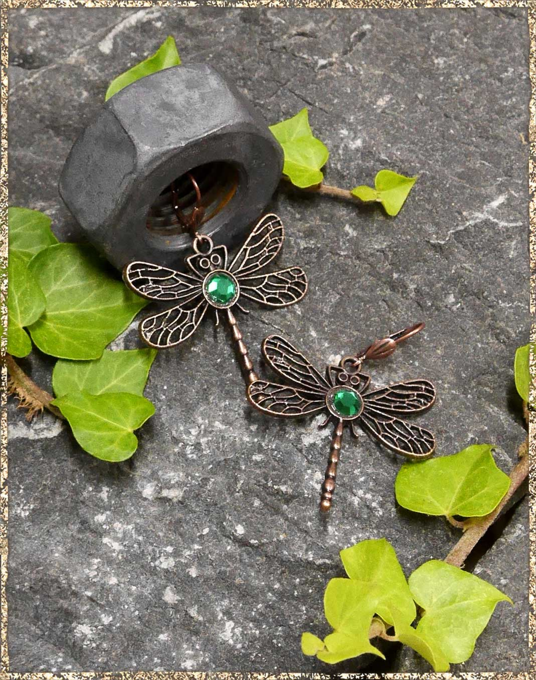 Steampunkohrhänger Green Dragon-Fly